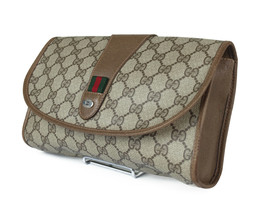 GUCCI GG Pattern PVC Canvas Leather Browns Clutch Bag GP2208 - $249.00