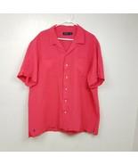 Polo Ralph Lauren Mens Linen Silk Blend Shirt XXL 2XL Pink Solid Short S... - $23.33