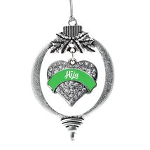 Inspired Silver Emerald Green Hija Pave Heart Holiday Ornament - $14.69