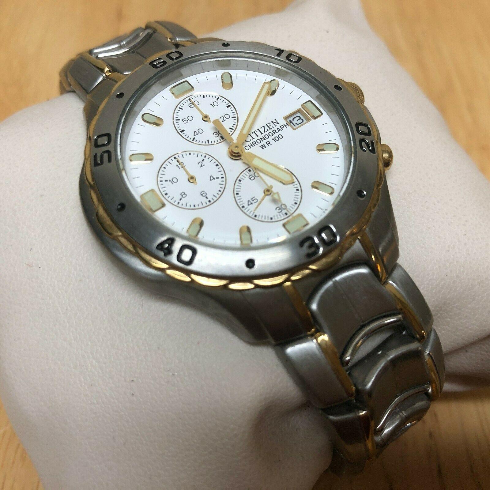 Unused Citizen 0510 Men Dual Tone Analog Quartz Chrono Watch Hours~Date~New Batt image 3