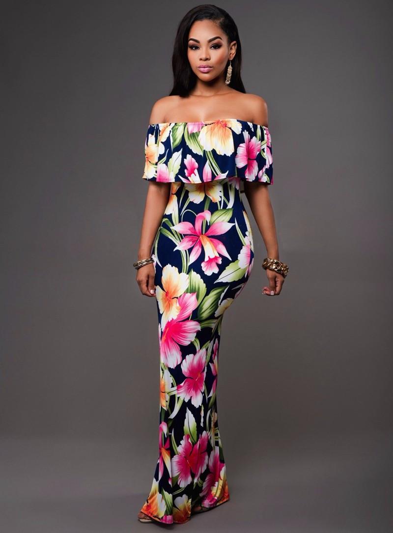 Ruffle Off Shoulder Maxi Dress At Bling Brides Bouquet Online Bridal Store image 4