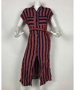 Bershka Dress Midi Stripes Shirt Short Sleeve Multicolor Sz S - $29.99