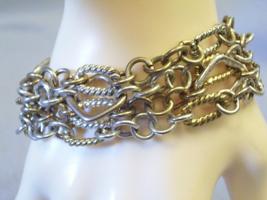 CHAIN Cluster GOLD n SILVER Plate Bracelet MAGNETIC Clasp 4 Strands Vint... - $15.83