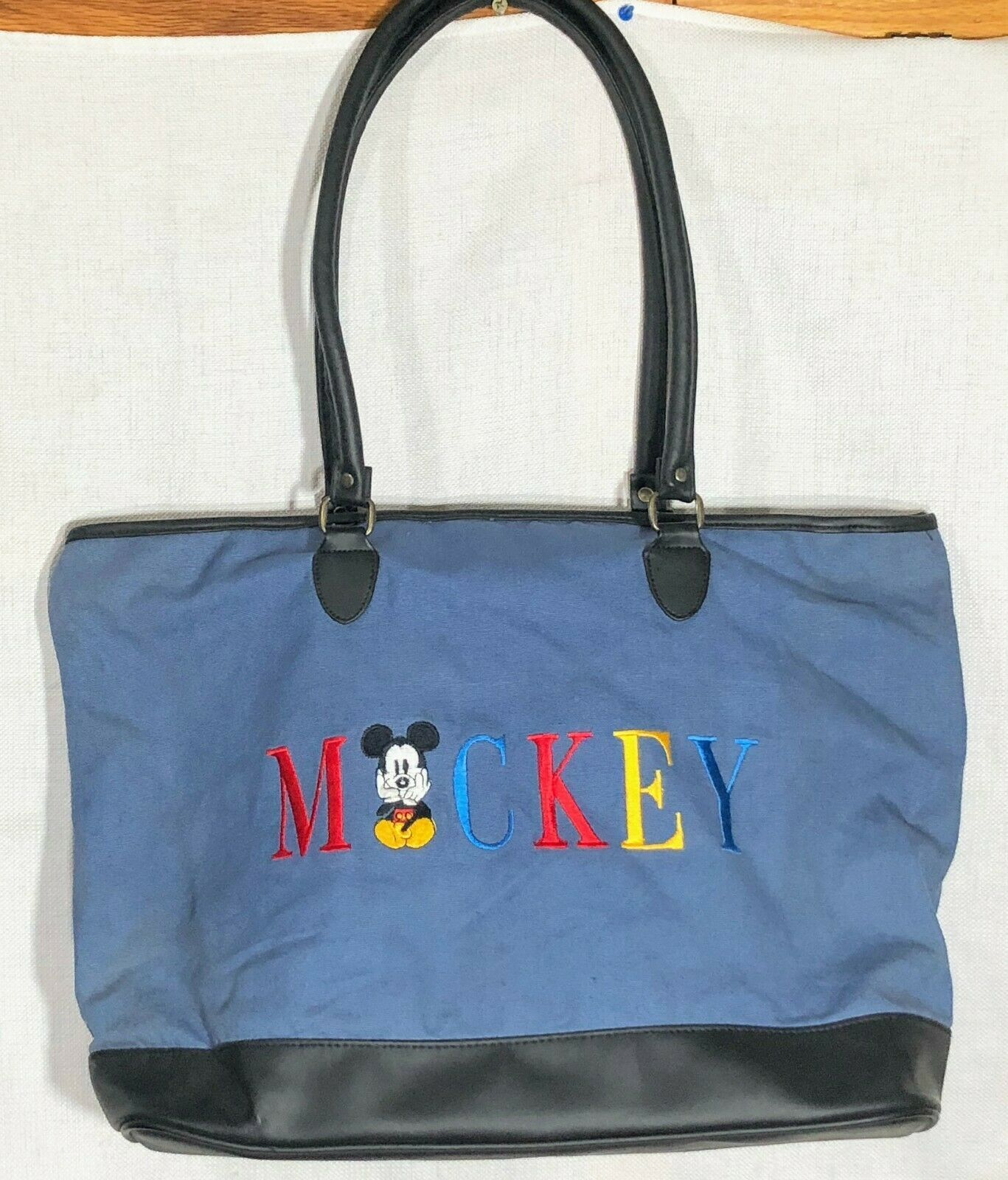 Vintage Mickey Mouse Walt Disney Embroidered Canvas Leather Large Blue Tote Bag - $19.98