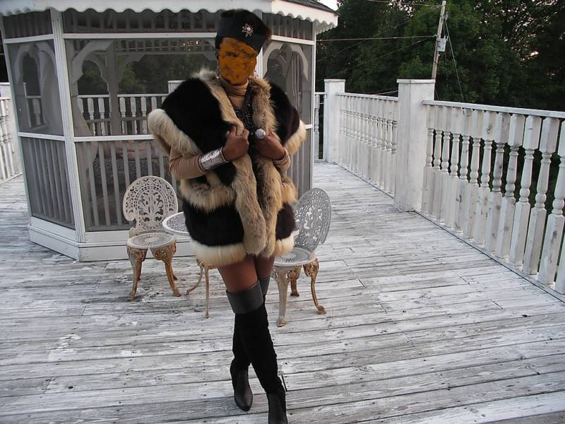 Unique crystal & Black fox fur Vest Sleeveless coat M-L