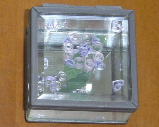 Flower & hearts, Paper Quill on Glass Handcrafted Jewelry Box