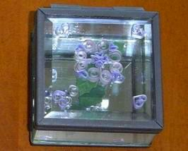 Flower & hearts, Paper Quill on Glass Handcrafted Jewelry Box - $29.99