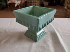 Pfaltzgraff Art Pottery Vase York Keystone Vintage Green Speckle square 5x5x5  - $35.64