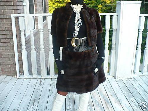 Unique mink Fur coat jacket & Mink Skirt Suit set S