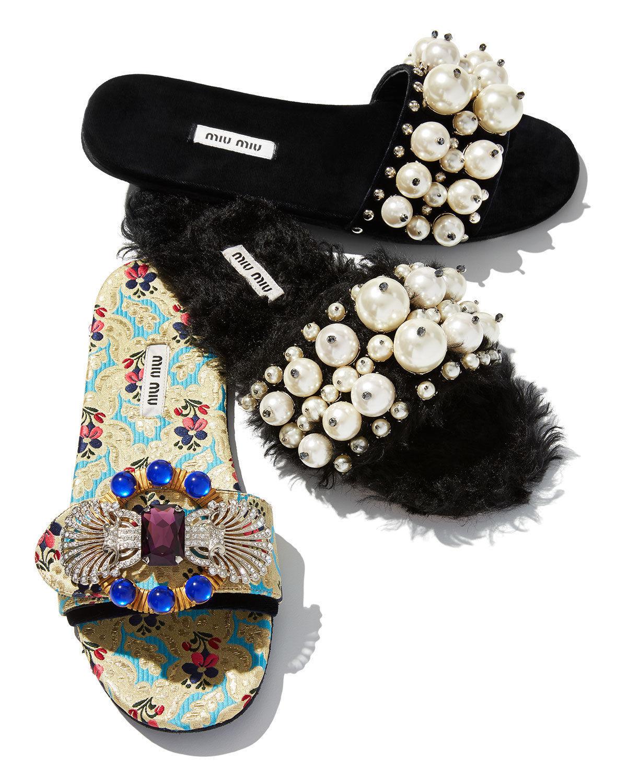 Miu Miu Pearly Velvet Slide Sandals Size 36 MSRP: $775.00