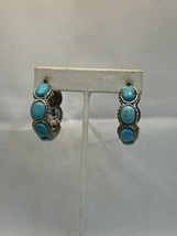 Vintage Heavy Silver Tone And Faux Turquois Pierced Earrings (1964) - $10.00