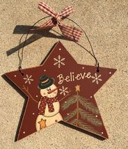 Primitive Wood 74704RB - Burgundy Believe  Snowman Christmas Ornament  - $3.95