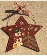 Primitive Wood 74704RB - Burgundy Believe  Snowman Christmas Ornament  - $3.95