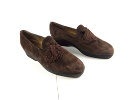 Stuart Weitzman Womens Loafers Brown Leather Suede Tassel Slip-on Shoes Sz 8.5 N - $69.12