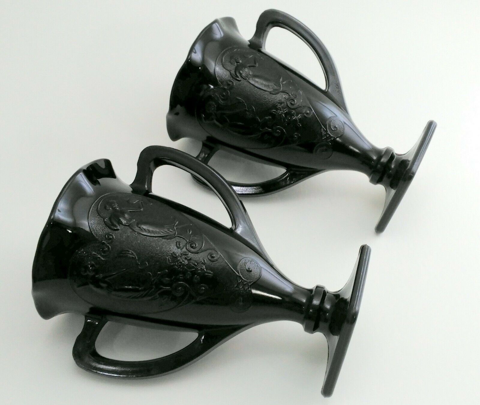 Primary image for LE Smith Black Amethyst Glass Handled Trophy Vases Dancing Nymphs set of 2