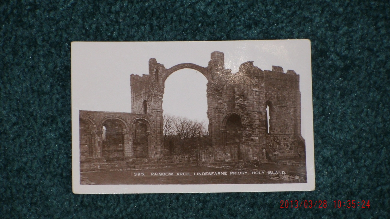 #395 RAINBOW ARCH LINDESFARNE PRIORY, HOLY ISLAND England REAL PHOTO postcard