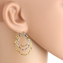 Whimsical Tri-Color Silver, Gold & Rose Tone Hoop Earrings- United Elegance image 1