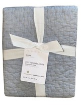 NEW Pottery Barn Chambray Blue Cotton Handcrafted Melange Quilted Sham E... - $33.66