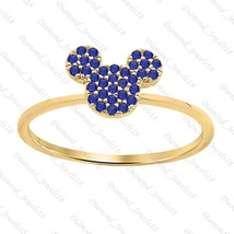 Mickey Mouse Blue Sapphire 14k Yellow FN 925 Sterling Silver Fashion Rin... - $59.99