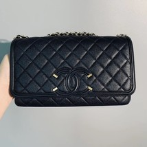 Authentic Chanel Classic Flap Caviar Quilted Large Filigree Flap Shoulder Bag image 5