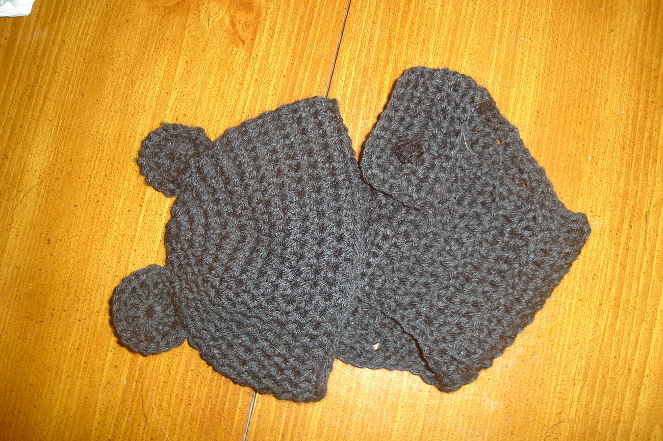 Hand crocheted little black bear beanie/cap/hat & diaper cover infant/photograph