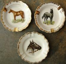 Vintage Horses Three Porcelain Ashtrays Gold Trim Circa 1960s - $62.31