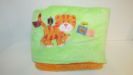 Taggies baby crib blanket tiger kitten cat orange green plush soft - $38.47 CAD