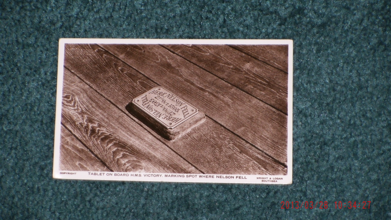 Primary image for  Nelson Fell 21st Oct 1805 Tablet on Board HMS Victory marking spot  REAL PHOTO