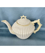 Belleek Ireland Irish Yellow Limpet Teapot Excellent Condition Green Mark - $224.39