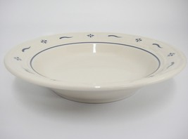 "Longaberger Blue Woven Traditions Rim Soup Bowl 8"" Pottery USA Very Good - $10.88"