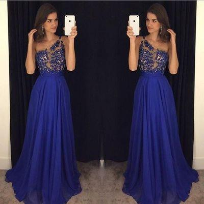 royal blue Evening Dress,one shoulder Prom Dress,long prom dress,prom dresses