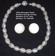 1950s  White Moonglow Plastic Necklace & Earrings - $10.00