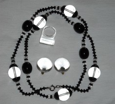 Vintage Black and clear Lucite Necklace, Earring and Ring - $18.00