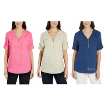 NWT Ellen Tracy Women Roll Tab Short Sleeve Linen Tunic 1/4 Zip Shirt/To... - $34.99