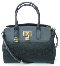 DKNY Donna Karan Heritage Black Leather Canvas Tote Cross Body Bag Handbag - $280.26