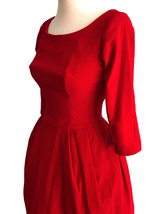 50s Poppy Red Velvet Fit & Flare Xmas Party Bubble Skirt Pin Up Rockabilly Dress image 6