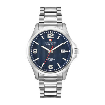 Mens Quartz Watch Swiss Military-OBSERVER_06-5277_04 Blue Stainless Steel Silver