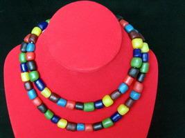 Vintage Colorful Ta-Ra-Va-Di Stone Bead (Luk-Pat-Lord) Necklace: Long 60... - $24.99