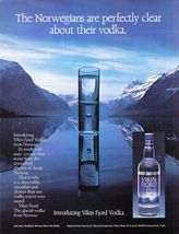 "1986 Original AD: Vikin Fjord ""Glacial Vodka from Norway"" Lake Loen Nord... - $7.69"