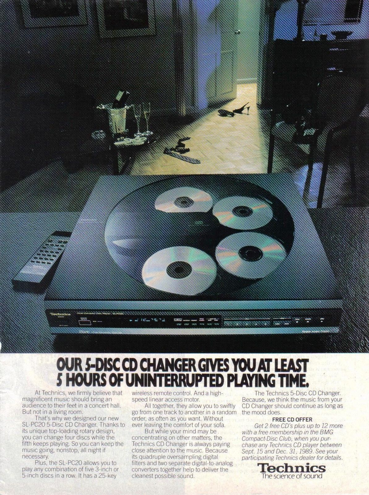 Primary image for 1989 Technics 5-Disc CD Changer  Print AD - Near Mint