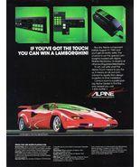 Alpine Audio Security & Cellular Systems Lamborghini Art 1985 Ad Adverti... - $8.49