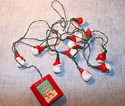 RARE FIND VINTAGE SANTA STRING LIGHTS BATTERY OPERATED WORKS - $19.99