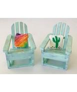 Miniature Dollhouse Adirondack Chairs & Cushions 1:12 Hand Painted Signe... - $66.76
