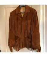 VTG SCHOTT Suede Western Fringe Caramel Brown Jacket SZ 40 Made in USA - $247.50
