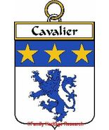 CAVALIER French Coat of Arms Print CAVALIER Fam... - $25.00