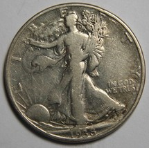1938D Walking Liberty Half Dollar 90% Silver Coin Lot# MZ 4163