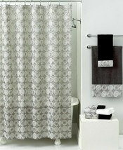 Avanti Galaxy Luxury Fabric Shower Curtain metallic Silver print  Retail... - $50.45