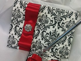 DAMASK GUEST BOOK and Pen Set  Madison Black and White with red accent o... - $49.00
