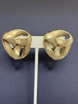 Vintage Gold Tone Heavy Chunky Ribbon Clip On Earrings (1783) - $10.00