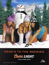 2002 Vintage Coors Light -  Here's To The Rockies Color Print Ad -  Near... - $7.69